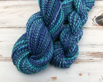Handspun Art Yarn, Weaver's Combo - A MAGNIFICENT TALE - Hand-dyed Polwarth / Tussah Silk, 136 yards, gift for weaver, weaving yarn set