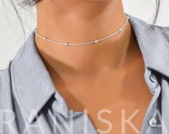SOPHIA Dainty Silver Delicate Satellite Chain Necklace Choker Jewelery
