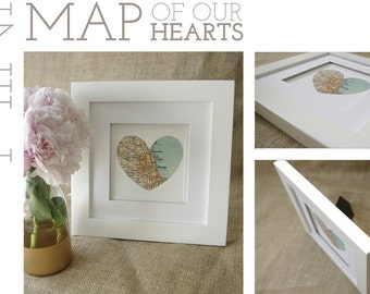 Mini Map of Our Hearts - Personalized Art Piece - Makes a wonderful wedding, anniversary, engagement or housewarming gift!