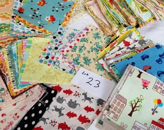 DESTASH LOT 23 Quilting Cotton Lg Flat Rate Envelope Stuffed with Rare, HTF Designer Charms, Florals, Animals, and more... cute!