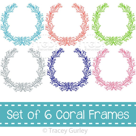 Coral Frames set of 6 colors coral wreath coral frame