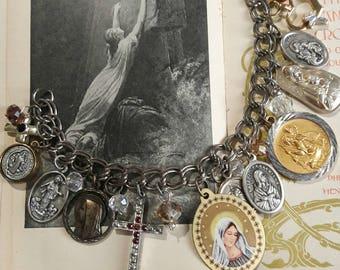 Religious Bracelet, Gold Silver Tone Medals Charms, Medjugorje, Lourdes, Sacred Heart St Benedict, Large Vintage Medals, Catholic Devotion