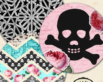 Printable Instant Download Vintage Maps Skulls and Roses 1.5 inch Circles Chevron Dragonflies Black, Pink, White piddix 1130