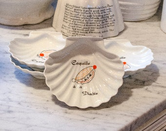 Vintage French Scallop Dishes, Porcelain, Set of Four