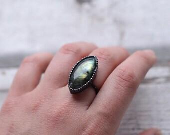 Labradorite ring in size 8 US (57mm)