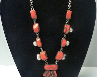 Stunning Coral and Freshwater Pearl Necklace