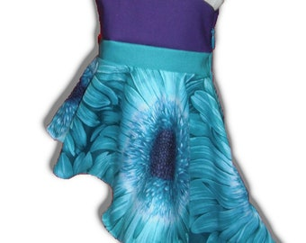 "One Shoulder Teal Purple Daisy 18"" Doll Clothes Side Hi-Lo Dress w/ Invisible side zipper"