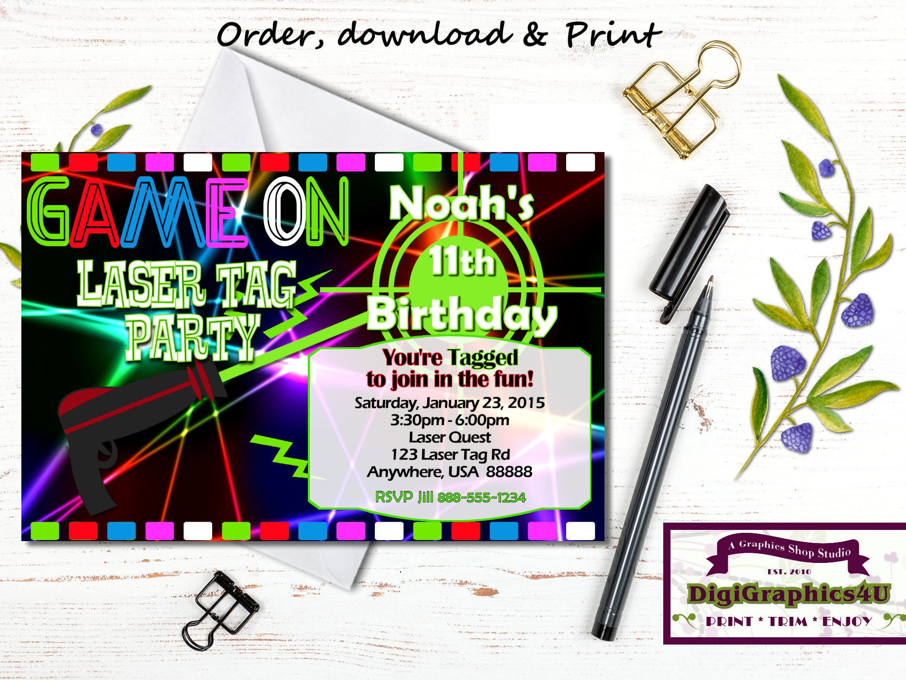 Printable Laser Tag Invitation and/or Laser Tag Birthday Party