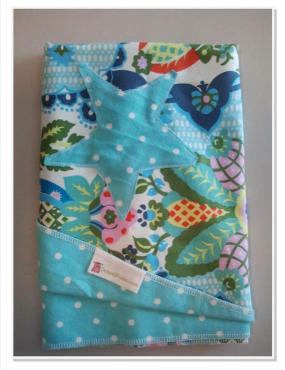 Baby Stroller Quilt with Star Fish applique -Amy Butler Designer Cotton Fabric - Harriets Kitchen / READY TO SHIP