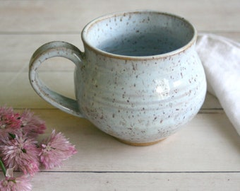 White Glazed Mug on Toasted Brown Speckled Stoneware 14 oz. Rustic Pottery Cup Ready to Ship Made in USA