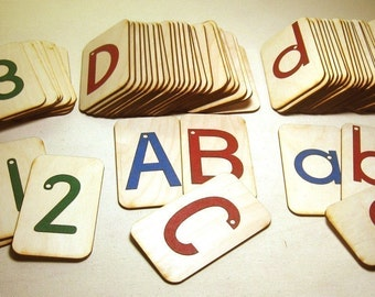 """Sandpaper Letters, Uppercase, Lowercase and Numbers 0-20  mounted on 3""""x5"""" Birch"""