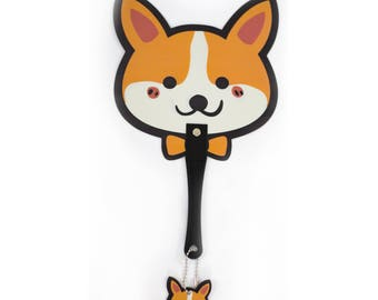 Cute corgi hand-held fan