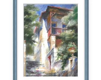 stairs in Simeiz, WonderfulWatercolor,Amazing watercolor, easel watercolor,drawing watercolor, recognized master,Original painting,Zelik