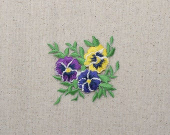 Pansies Bunch - Small - Yellow/Blue/Purple Flowers - Iron on Applique - Embroidered Patch - 691859-L