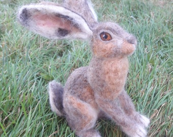 OOAK needle felted brown hare