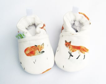 Organic Knits Vegan Sweet Little Fox / All Fabric Soft Sole Baby Shoes / Made to Order / Babies