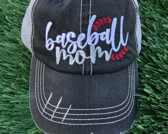 Baseball Mom Embroidered Trucker Hat