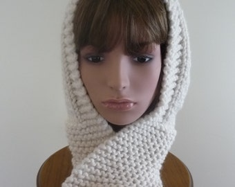 Hooded Scarf Chunky Knit Scoodie Teen Adult Warm Hooded Scarf - Fisherman - Ready to Ship - Direct Checkout - Gift for Her