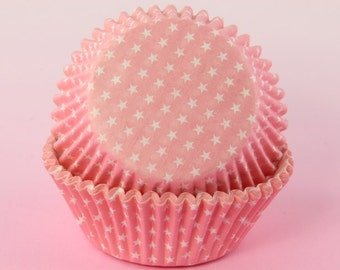 Pink Polka Stars Cupcake Liners , 2'' Standard Size , Baking Cups Bulk
