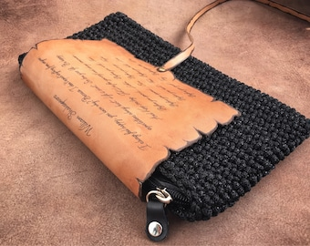 Clutch Shakespeare quotes, leather pyrography, knitted clutch, black knitted handbag, genuine leather bag, Pyrography Leather clutch, text b