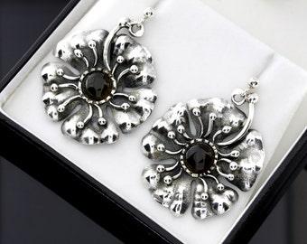 Silver Flower Earrings, Statement Earrings, Silver Gemstone Earrings, Statement Earrings With Silver, Gemstone Earrings , Large Earrings
