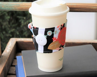 Coffee Cup Cozy, Coffee Cup Sleeve, Cup Sleeve, Fabric Cup Sleeve, Black/White Stripe Floral Cup Cozy, Gift Idea, Coffee Gift, Teacher Gift
