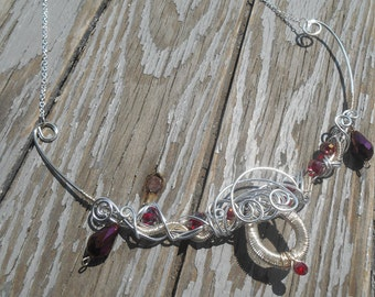 Vampire Necklace - Costume Necklace - Wire wrapped Collar Necklace - Wrapped Bib Necklace - Wrapped teardrop necklace - Queen costume