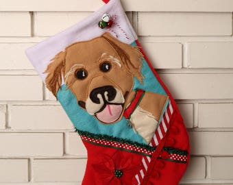 Custom, Handmade Dog Christmas Stocking