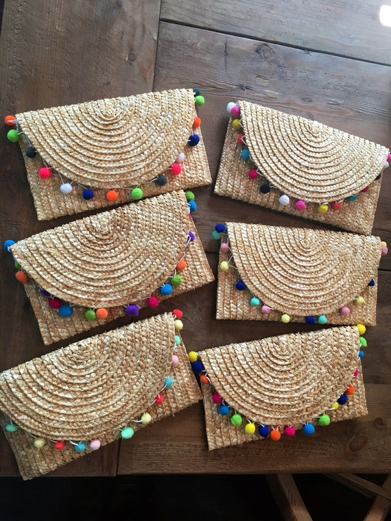 Straw Envelope Clutch with Pom Poms