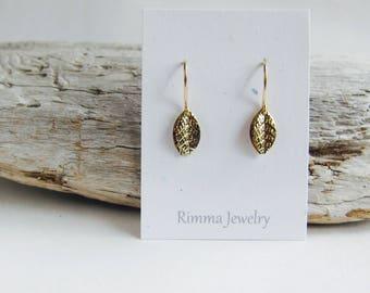Tiny leaf earrings. Gold earrings, drop earrings, small everyday earrings.