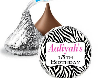 108 Zebra Print Hershey Kiss Labels Personalized Favors / Candy Sticker