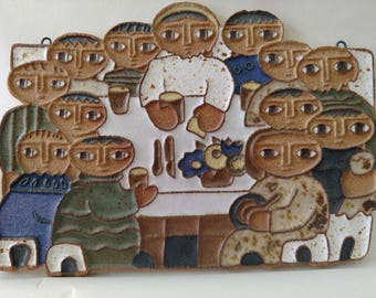 LAST SUPPER  Handmade Ceramic Trivet/Plaque by Saint Andrew's Priory - OOAK