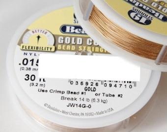 "Beadalon 0.015"" Gold Nylon Coated 19 Strand Flexible Beading Stringing Wire. 30 Feet"