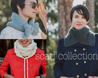 THREE KNITTING PATTERNS Scarf Kerchief Cowl Collection