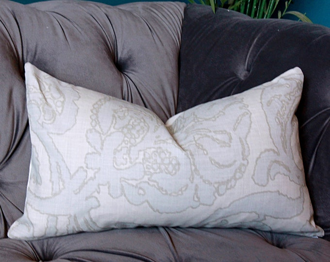 Christopher Farr Cloth - Anna in Smoke Linen pillow cover - Light Gray Floral Pillow cover