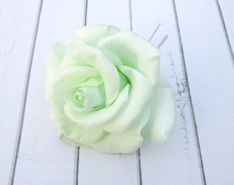 Pale Mint Rose Hair Pin - Light Green Rose Flower Hairpin - Light Mint Rose Flowers Hair Accessories - Handmade Flowers Hair Decoration