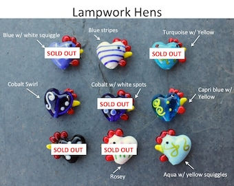 Two colorful lampwork glass hens - you choose the color - chicken bead - DIY jewelry and craft supplies