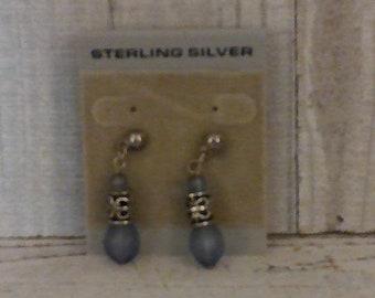 Vintage Sterling Silver Purple Stud Earrings