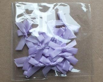 20 small ribbon bows embellishments sewing card making scrap booking Lilac