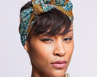 Gold Turquoise Wax Print head wrap | African Wax print Head wrap | Print headscarf | African wax print Hair Tie | Turban Wrap | Print 17