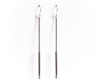 """Monochromatic boho sterling silver earrings, a dramatic combination of light silver tube and dark oxidized silver chain - """"Analog Earrings"""""""