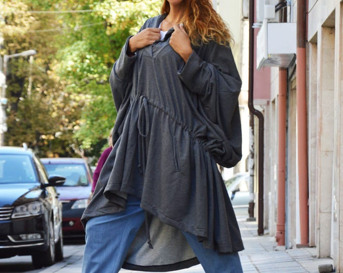 Long Dark Grey Hooded Sweatshirts, Quilted Cotton Hooded Dress, Plus Size Maxi Dress, Asymmetric Sweatshirt, Maxi Tunic by SSDfashion