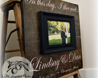 Personalized Wedding Gift, Anniversary Gift, Custom Picture Frame, On This Day 16x16 The Sugared Plums Frames