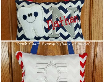Personalized boys tooth fairy pillow navy and white chevron, choose your version, tooth chart available
