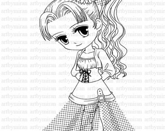 Shy Girl(#27) Digi Stamp, Digital Stamp, Big eyed girl Coloring page, Printable Line art for Card and Craft Supply, Art by Mi Ran Jung