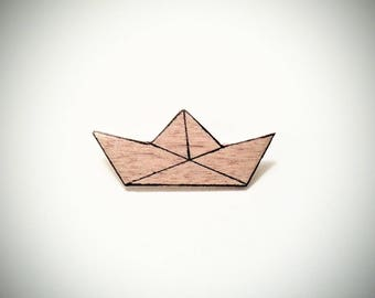 "Brooch ""little boat origami wood"""