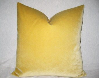 Yellow Velour 22 inch Zippered Pillow Cover