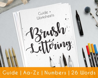 Brush Hand Lettering Worksheets | 33 practice Sheets | Guide for Beginner | Brush Lettering Workbook | Printable | Learn Calligraphy | B1