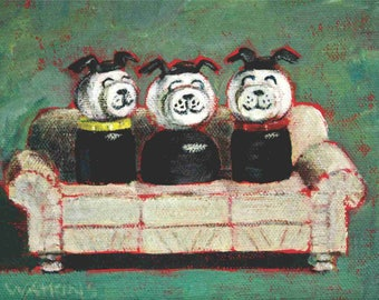 Three Dog- Matted print of an original acrylic painting by Greta Watkins