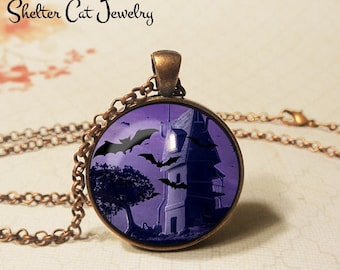 """Bats At Night Necklace - 1-1/4"""" Circle Pendant or Key Ring - Handmade Wearable Art Photo - Halloween Haunted House Trick Or Treat Scary Gift"""